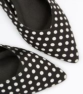 Black Polka Dot Kitten Heel Slingbacks New Look