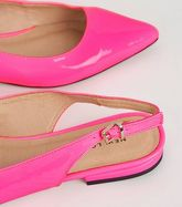 Bright Pink Neon Leather-Look Slingbacks New Look