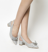 Office Monroe Point Block Buckle Slingbacks GREY PATENT