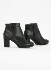 Extra Wide Fit Black Platform Heeled Ankle Boots, Black (wide!)