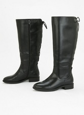 Extra Wide Fit Black Lace Up Knee High Boots, Black (wide!)