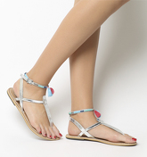 Office Salsa Tassel- Ankle Strap Toe Post SILVER LEATHER BLUE TRIM
