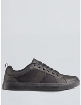 Mens Black Leather Look Trainers, Black