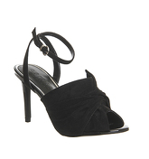 Office Maverick Bow Ankle Strap Heels BLACK MICRO