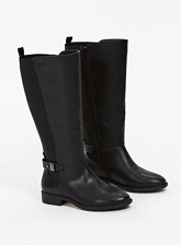 Extra Wide Fit Black Elastic Back Boots, Black (wide!)