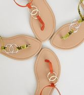 Orange Hammered Ring Strap Flat Sandals New Look