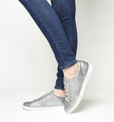 Office Penelope Lace Up Trainer SILVER GLITTER