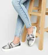Grey Check Print Twisted Slip On Trainers New Look