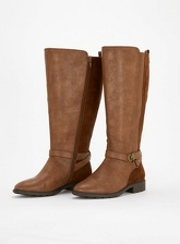 Extra Wide Fit Brown Mix Material Long Rider Boots, Brown (wide!)