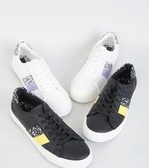 Black Leopard Print Side Stripe Trainers New Look