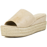 Spylovebuy  MASIE Open Peep Toe Wedge Heel Sandals Shoes - Stone Suede Styl  women's Mules / Casual Shoes in Beige