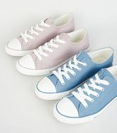 Pale Blue Canvas Stripe Sole Trainers New Look Vegan