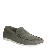 Ask the Missus Draft Penny Loafer DARK GREY NUBUCK