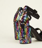 Rainbow Sequin Block Heel Sandals New Look