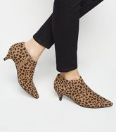 Brown Animal Print Kitten Heel Shoe Boots New Look