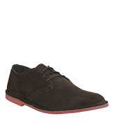 Office Future Derby CHOCOLATE SUEDE RED SOLE