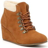 London Rag  Women's Tan Microfiber Lace Up Fur Wedge Boots  women's Snow boots in Brown