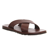 Office Bbq Cross Strap Sandals TAN LEATHER