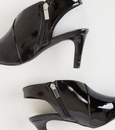 Black Patent Wrap Side Shoe Boots New Look