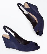 Navy Comfort Suedette Peep Toe Wedges New Look