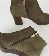Khaki Suedette Wood Heel Shoe Boots New Look