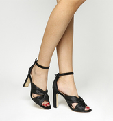 Office Hugh Feature Vamp Block Heel BLACK SATIN BLACK VELVET
