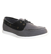 Office John Casual Boat GREY CANVAS BLACK LEATHER