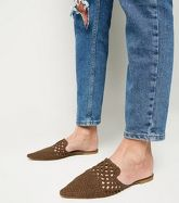 Khaki Woven Suedette Mules New Look