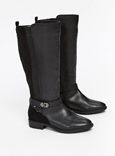 Extra Wide Fit Black Long Rider Boots, Black