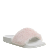 Office Sleepy Faux Fur Pool Slide PINK FAUX FUR WITH WHITE SOLE