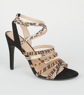Camel Mixed Animal Print Strappy Heel Sandals New Look