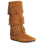 Minnetonka Calf Hi 3 Layer Fringe Boots BROWN SUEDE