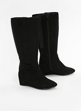 Extra Wide Fit Black Bow Wedge Long Boots, Black (wide!)