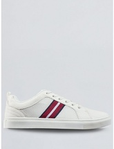 Mens White Leather Look Trainers, WHITE