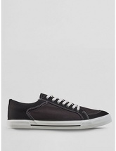 Mens Black Canvas Trainers, Black