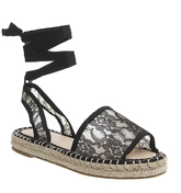Office Sophia Lace Espadrille Sandals BLACK LACE