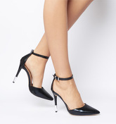 Office O-hermana- Pointed Court Heel Detail BLACK SNAKE