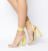 Office Highjack Ankle Tie Block Heel YELLOW