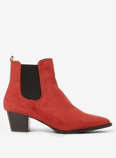 Womens Wide Fit Rust 'Mayfair' Ankle Boots- Red, Red