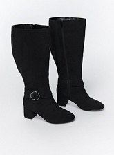 Extra Wide Fit Black Circle Buckle Long Boots, Black (wide!)