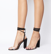 Office Highjack Ankle Tie Block Heel BLACK