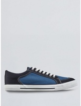 Mens Navy Canvas Trainers, NAVY