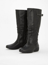 Extra Wide Fit Black Comfort Wedge Long Boots, Black (wide!)