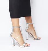 Office O-accept- Peep Toe Block Heel SILVER METALLIC