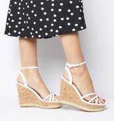 Office Honcho Strappy Glam Cork Wedge WHITE