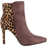 Krisp  Heeled Leopard Ankle Boots {Beige}  women's Low Ankle Boots in Beige