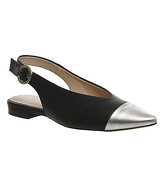 Office Darcey Slingback Point BLACK LEATHER SILVER TOE CAP