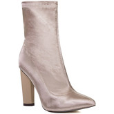 Spylovebuy  RHINO Fitted Sock Pointed Toe Block Heel Ankle Boots Shoes - Be  women's Low Ankle Boots in Beige