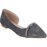 Krisp  Pointed Sparkling Bridal Flats {Dark Grey}  women's Shoes (Pumps / Ballerinas) in Grey