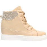 Krisp  Diamante Cuff Wedge Trainers [Beige]  women's Shoes (High-top Trainers) in Beige